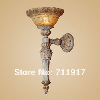E27 Indoor lighting fixture home or hotel decorative room corridor wall lamp with glass shade