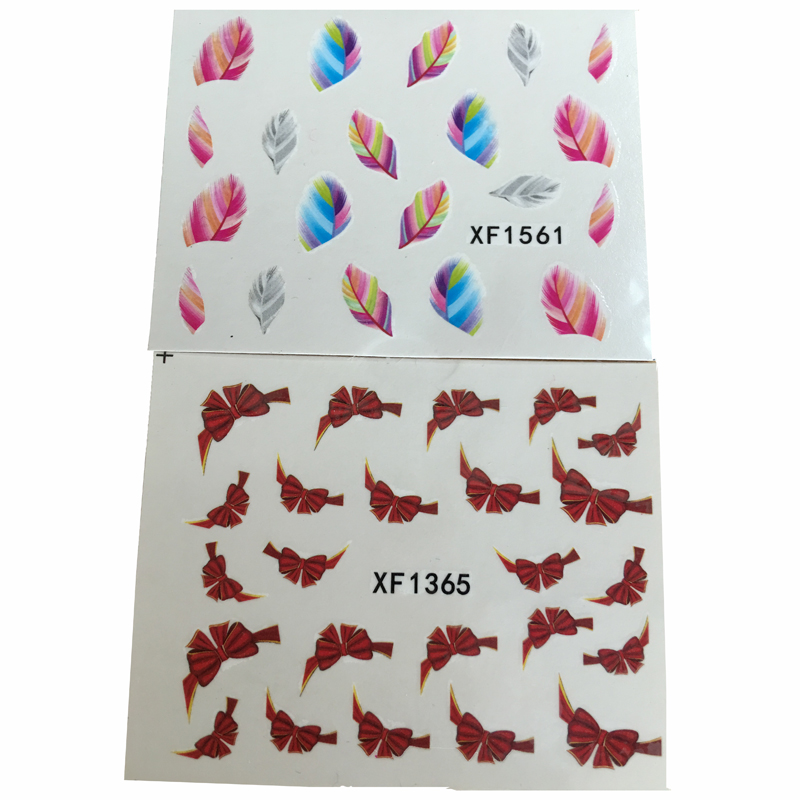 2pcs Women Bowknot Stickers For Nail Art DIY Manicure Water Decals Colorful Feather Transfer Stickers Nail Tips Decorations(China (Mainland))