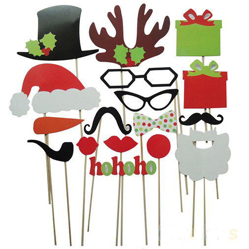 2016 Funny Christmas Photo Booth Props Hat Mustache 17 Different Styles On A Stick Wedding Birthday New Year Party Fun Favor()