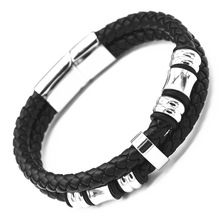 2016 people of fashion jewelry, leather bracelet made from high quality stainless steel jewelry accessories free shipping(China (Mainland))