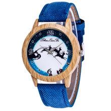 FUNIQUE Simple moda serie de Navidad pulsera de venado relojes mujer cuero imitación madera Dial relojes Casual hombres Montre Homme(China)