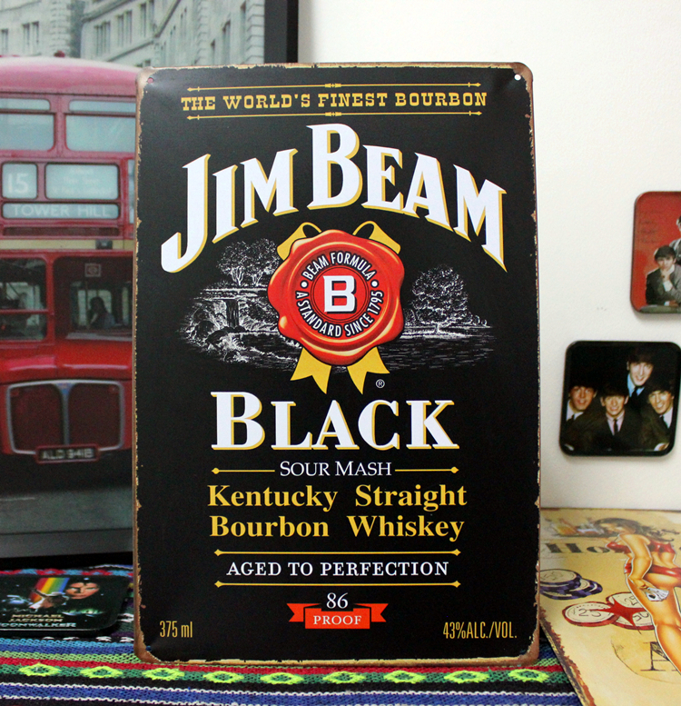 JIM BEAN BLACK GLORY Tin Sign Painting Vintage wall sticker art table decor for Home Bar 20*30 CM(China (Mainland))