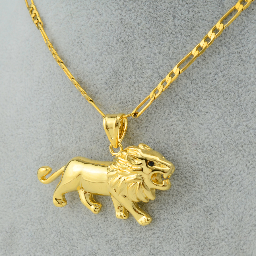 18k real gold filled plated lion head pendant necklace ...