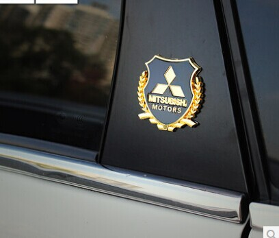car styling metal logo sticker modified standard column for Mitsubishi LANCER LANCER-EX ASX Outlander car accessories(China (Mainland))