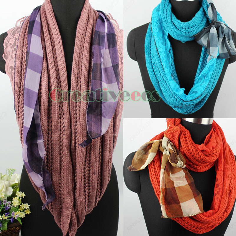 Fashion Women's Delicate Embroidery Lace Floral Stitching Cotton Gauze Scarf Wrap Long Lace Trim Tassel New(China (Mainland))