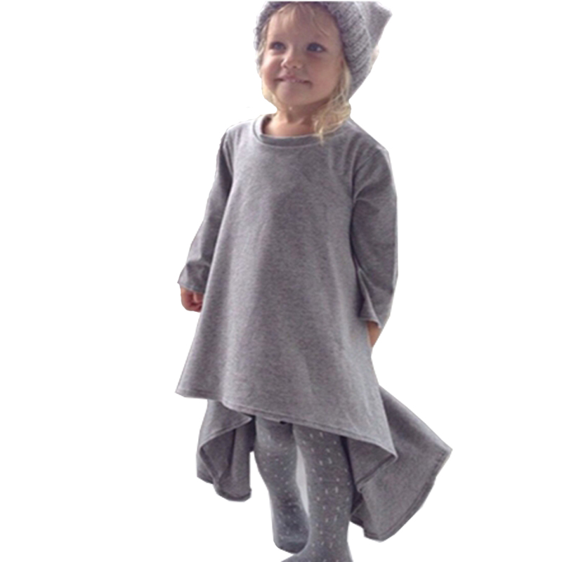 baby girl dress kids children black grey autumn&spring long sleeve cotton clothes casual baby clothing princess girls dresses(China (Mainland))