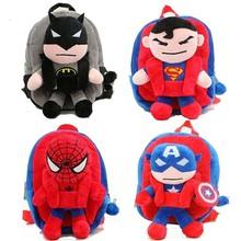3D The Avengers Plush Backpacks Toys for kids 2016 New Ironman Superman Spiderman Batman  doll plush schoolbag mochila(China (Mainland))