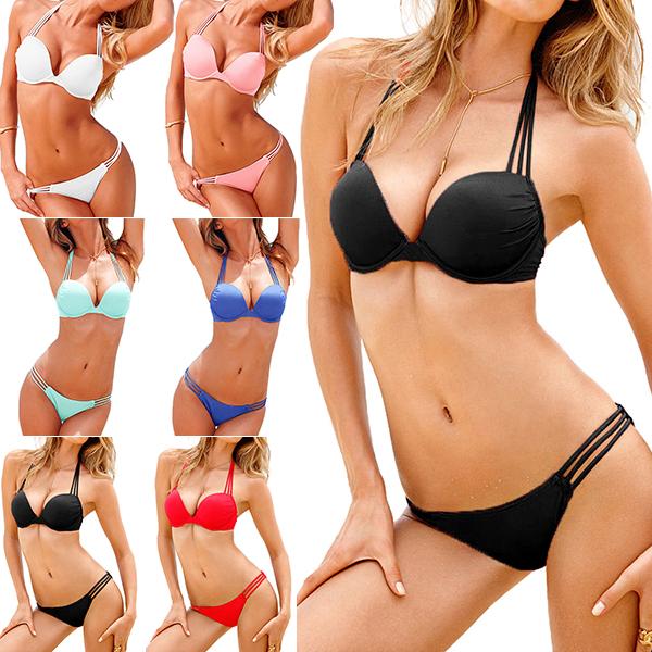 2015 newest super sexy bikini set swimsuit women 39 s multi straps push up halter swimwear bikini. Black Bedroom Furniture Sets. Home Design Ideas