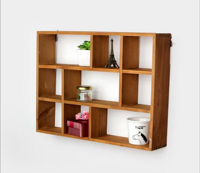 Hollow wooden wall shelf storage rack Desktop shelves wooden wall shelves rack decorative prateleira shelves for bathroom