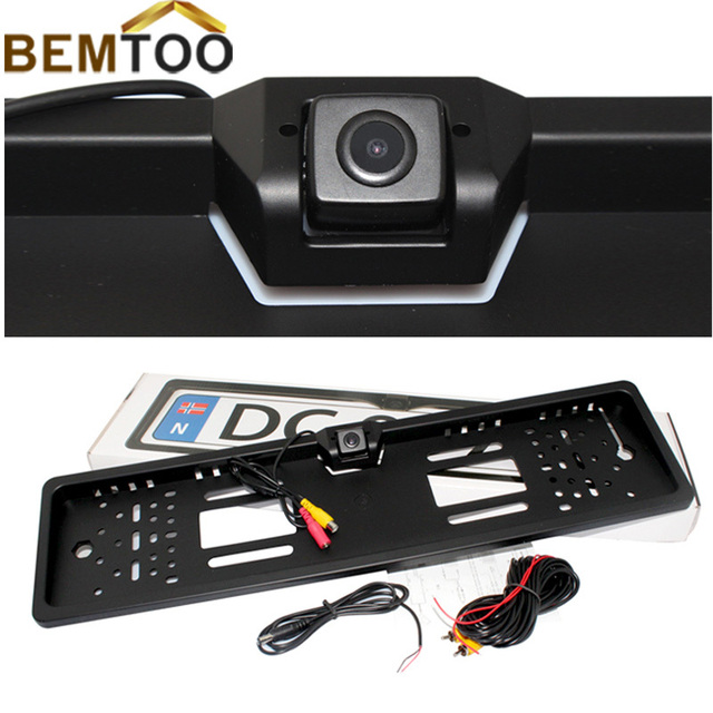 BEMTOO European  license plate Frame Rear view camera Wireless 5'' HD Display Monitor 800*480 For parking camera Free Shipping