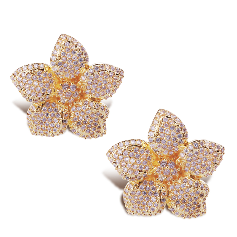 valentine's day gift for girlfriend 2014 latest crystal flower post earring top quality setting zirconia jewels()