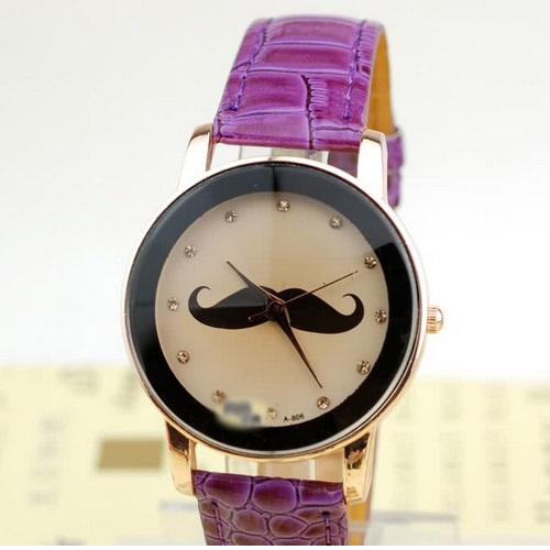 Cute Mustache Pattern Casual Watches women Faux Leather Fashion Quartz Watches mens wristwatch new fashion
