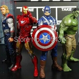 hot ! NEW 4PCS/set 20cm Avengers Super Heroes Captain America Thor Hulk Iron Man PVC Action Figure Model toys Christmas gift toy - Shenzhen China Good Service Best Price store