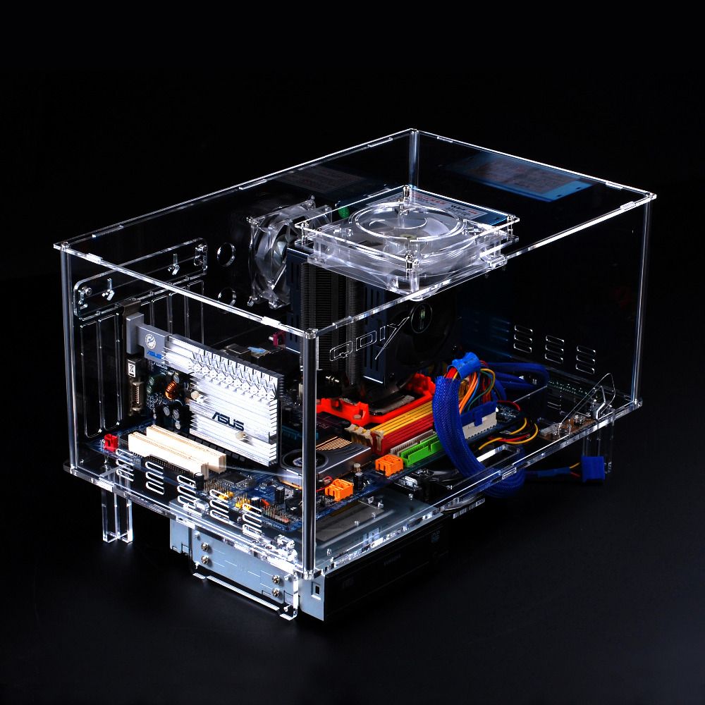 QDIY PC-D777XL E-ATX Personalized Acrylic Transparent Computer Desktop Game Computer Case(China (Mainland))