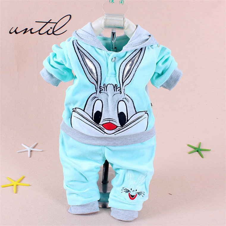 Retail. 2015 Spring/Autumn baby set cartoon rabbit velvet set twinset long sleeve set hoodie and pant children clothing()