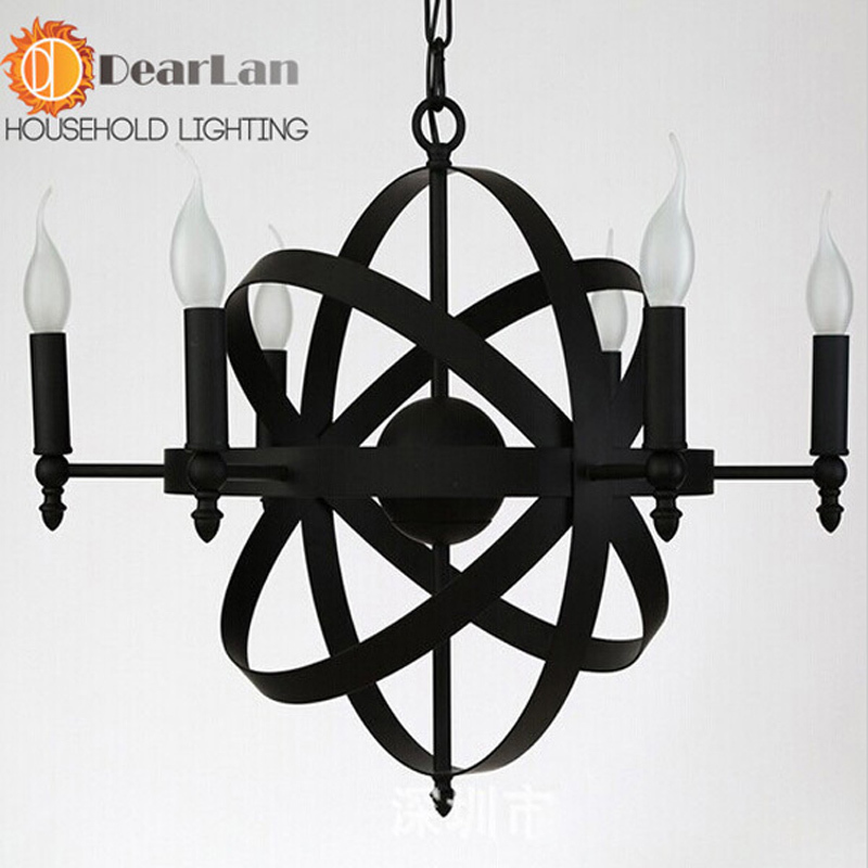 Modern brief pendant light iron lamps vintage lamp three