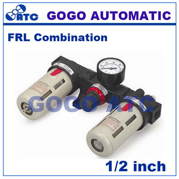 GOGO Pneumatic air frl units BC4000 1/2 inch Manual drain pressure gauge airtac type air filter regulator lubricator(China (Mainland))