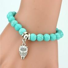 Vintage Charms Turquoise Beads Owl Elephant Bird Pendant Bracelet Fashion Hand Cross Bracelets Women Fine Jewelry Pulseras  F007(China (Mainland))