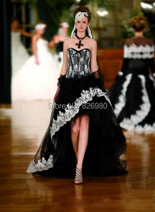2015 Fashion Black and White Wedding Dress Sweetheart Neckline Off Shoulder High-Low Lace Tulle Wedding Dress With Court Train(China (Mainland))