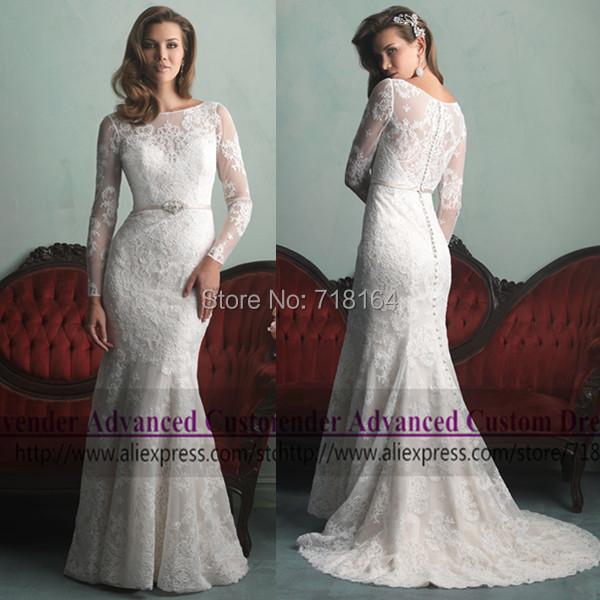 Plus Size Long Sleeve Mermaid Wedding Dresses : Vintage long sleeve muslim lace wedding dress plus size