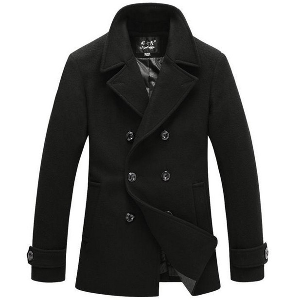 British Style Trench Coat Men Long Double Breasted Men's Woolen Jackets Brand Designed Outdoors Wool Pea Coats Overcoat Black(China (Mainland))