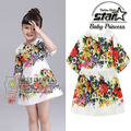 Princess Girls Dress 2016 New Fashion Full Flower Print Children Summer Short Sleeves Cartoon Clothing Kids