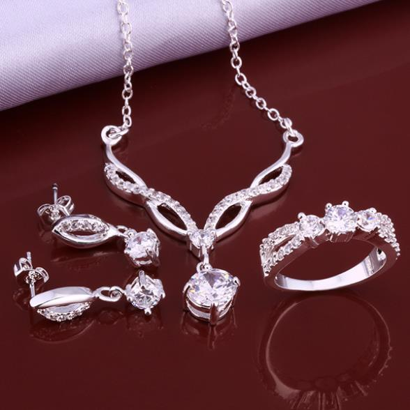2014 New Fashion Silver color plated Jewelry Set white Zircon Crystal ring earrings necklace jewelry sets women AS631 - Amanda Store store