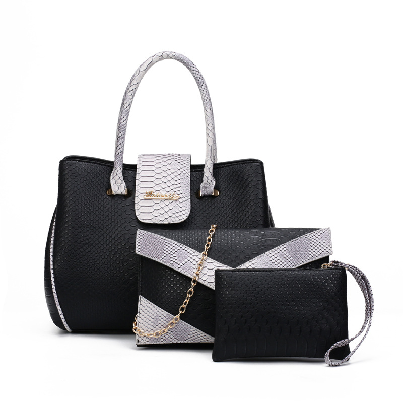 Luxury panelled hand bags top quality serpentine leather women handbag +shoulder bag +small purse 3 pcs/set composite tote bolso(China (Mainland))