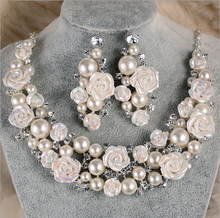 Women Pearl Flower Ceramic Jewelry sets Chokers Nacklace/ Drop Earrings 2 pieces/Sets Bride Wedding Pearl Jewelry sets(China (Mainland))