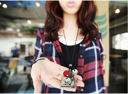 Best selling Free shipping South Korean Golden camera with leather cord jewelry retro sweater necklace 2 colors