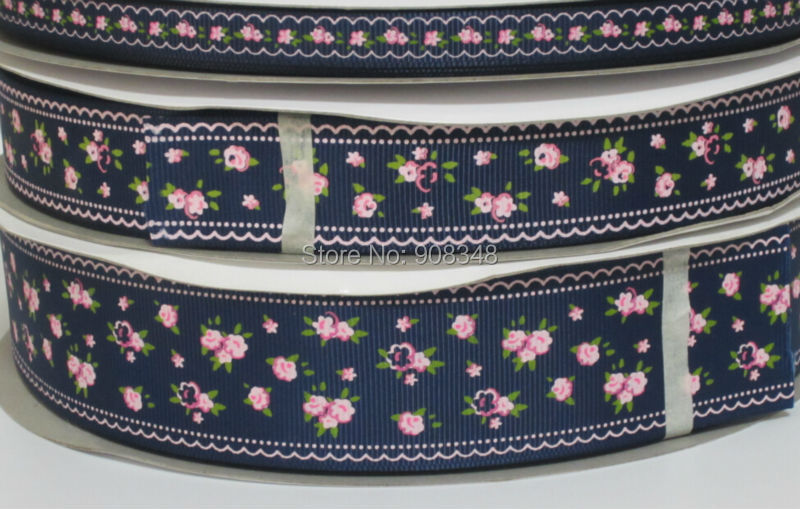 Pick Size 9 16 25 38 mm Width Navy flower floral Printed Grosgrain Ribbon Y03(China (Mainland))