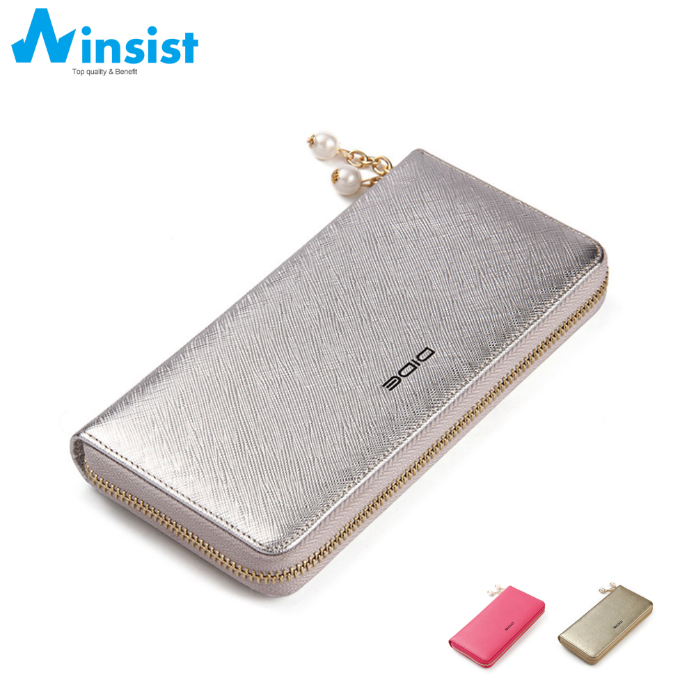 Women Wallet Leather Genuine 100% Cowhide Cell Phone Wallets For Ladies Card Holder With Coin Pocket Long Fashion Design Purse(China (Mainland))