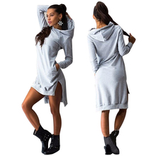 2016 Winter Autumn Long Sleeve Warm Pocket Sweatshirts Women Pullover Dress Lady Hoodies &amp Vestidos Casual Sports Clothing