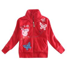 Girl winter outwear coat girls autumn-winter cartoon pig embroidery clothes jacket zipper up jacket hoodies for baby girls(China (Mainland))