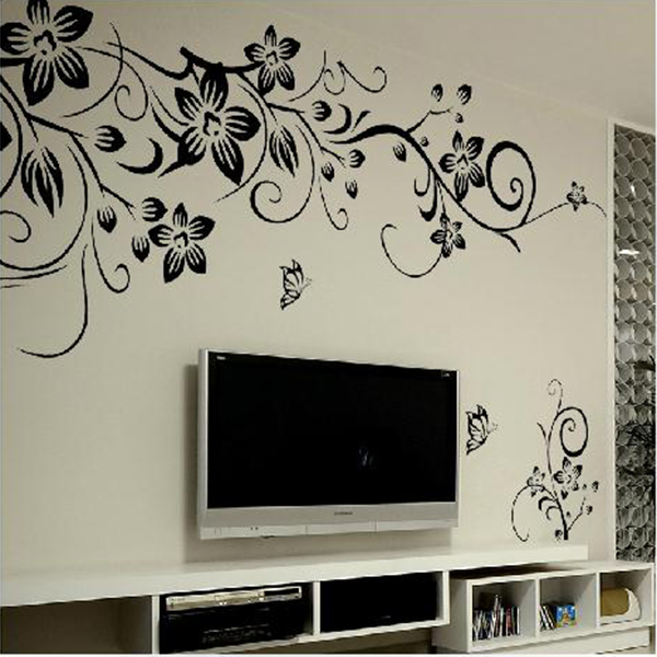 Classical Black Vines Butterfly Removable Decal Vinyl Mural Wall Sticker Office TV Background Decor(China (Mainland))