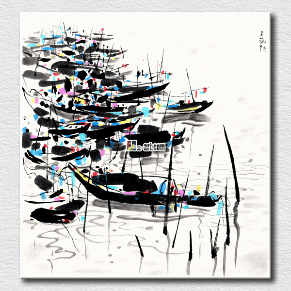 Chinese styles picture south town scenery painting simple black and white canvas printing art(China (Mainland))