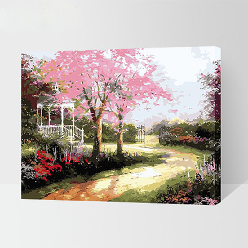 Garden scenery wall pictures for bedroom diy painting by numbers oil painting hand made Acrylic on the canvas decor framed art(China (Mainland))