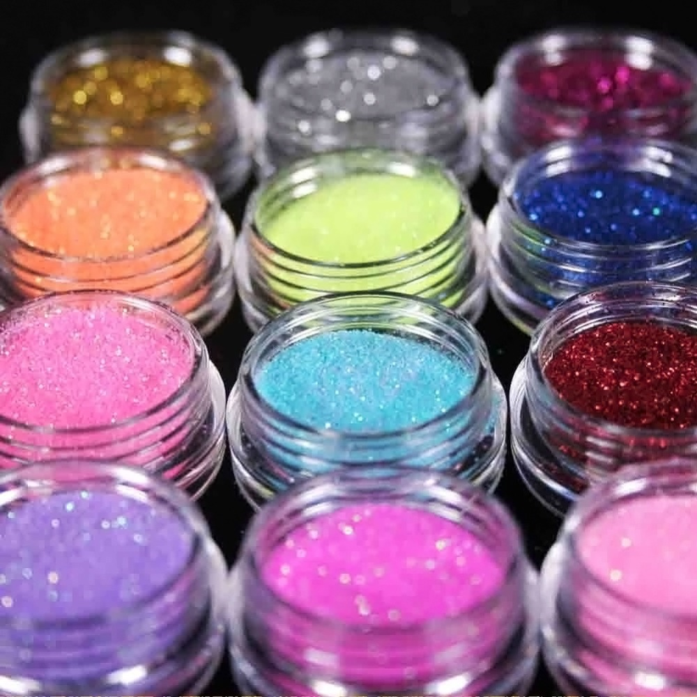 1SET 12 Color Metal Glitter Nail Art Tool Kit Acrylic Powder Dust gem Polish Nail Tools M01090(China (Mainland))
