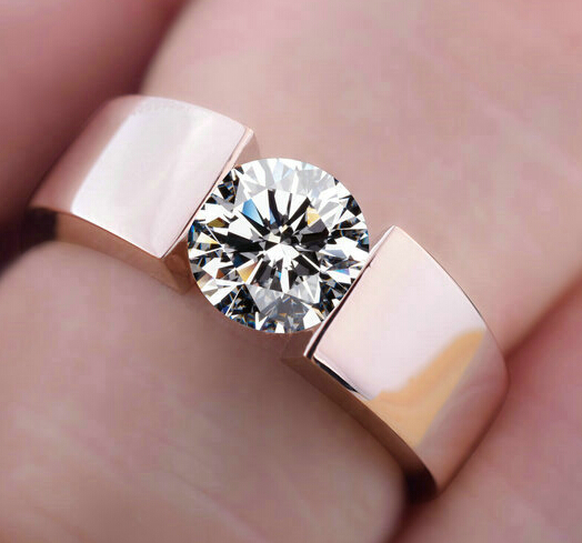 2015 new high quality 18K rose gold Plated CZ diamond rings Top Design engagement Band lovers