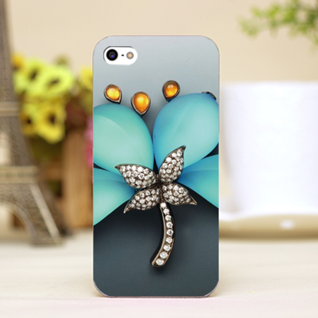 pz0037-5 diamond jewel necklace butterfly Design phone transparent cover cases for iphone 4 5 5c 5s 6 6plus Hard Shell(China (Mainland))