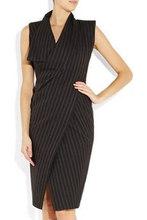 Women luxury elegant stripe dress fashion career dresses Free shipping(China (Mainland))