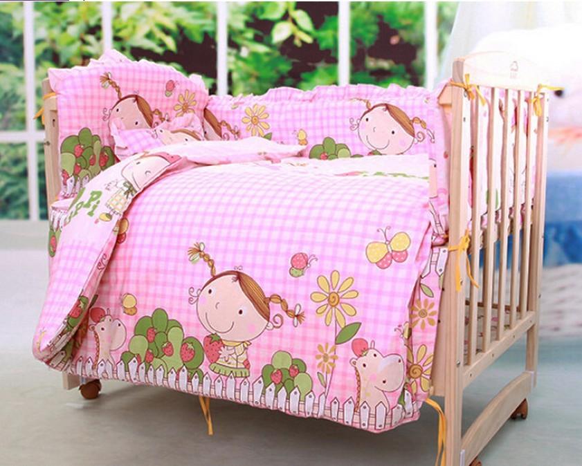 Фотография Promotion! 10PCS bedding Kids crib bedding set Child bedding sets (bumper+matress+pillow+duvet)