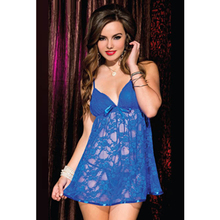 Attraction Blue Lace Negligee Sexy Transparent Erotic Babydoll High Quality Babydolls Blue Beautiful Chemise Fashion Women 2015