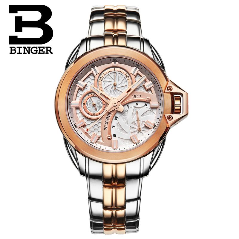 BINGER Switzerland watches men luxury brand quartz movement luminescent steel belts business casual golden relogio masculino<br><br>Aliexpress