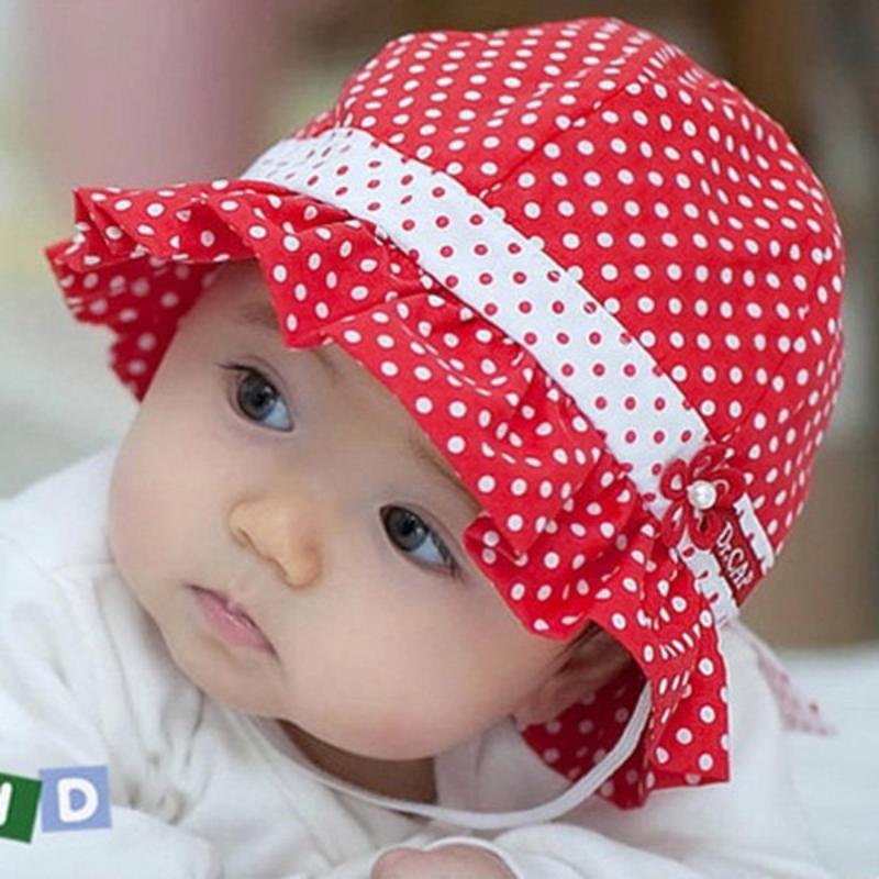 Pro Kids Toddlers Baby Girls Sun Hat Polka Dot Flower Bucket Cap Bowknot Pearl Hat S44(China (Mainland))