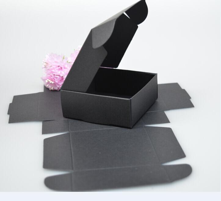 7*7*3CM, black folding paper box for jewelry , kraft paper box packaging paper gift ,white gift paper box(China (Mainland))