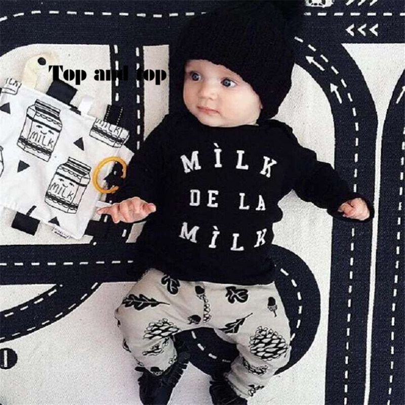 2016 Autumn New baby boy clothes Fashion cotton long-sleeved Letter milk T-shirt+pants Newborn baby girl clothing set(China (Mainland))