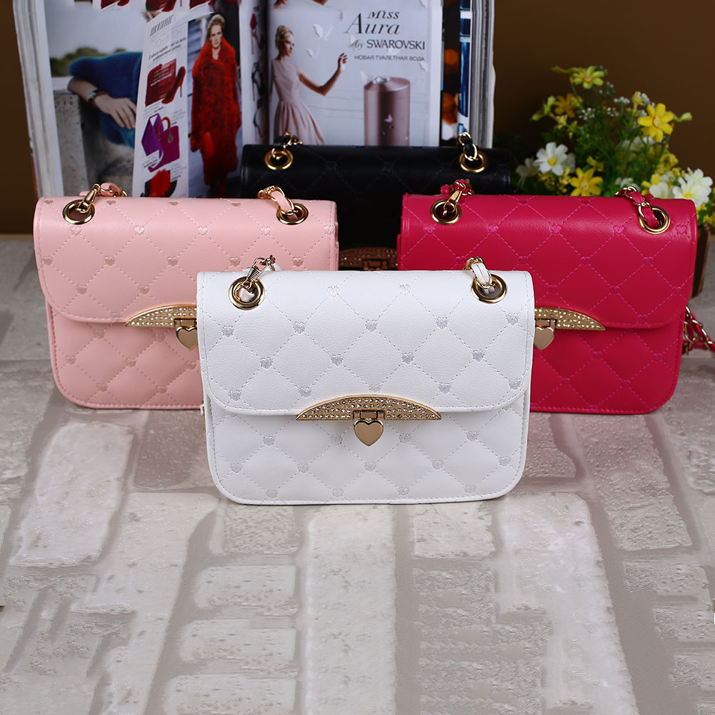 Women Fashion Popular Charming Girls Tote Leather Chain Hangbag Purse Hobo Casual Shoulder Bag White/Pink/Black/Rose Red(China (Mainland))