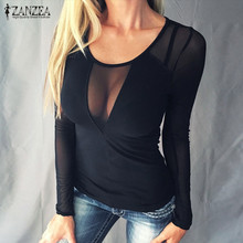 Buy ZANZEA Women Sexy Splice Mesh Blouses 2017 Blusas Femininas Long Sleeve O Neck Casual Solid Slim See Shirts Tops Tees for $5.88 in AliExpress store