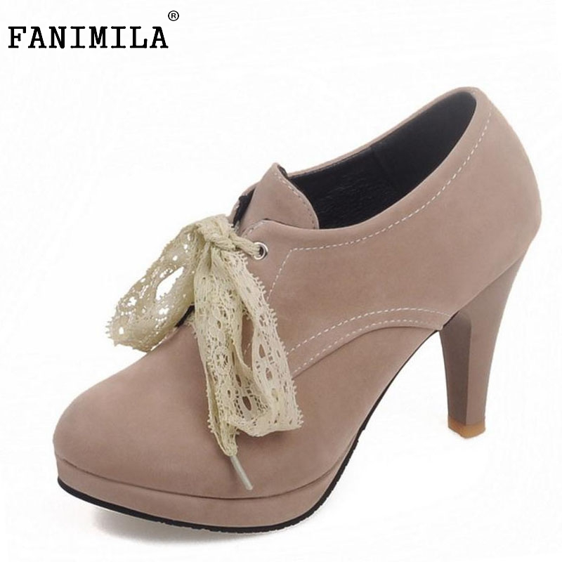 Women Fashion High Heel Ankle Boots Woman Round Toe Platform Botas Sexy Lace Cross Strap Heels Shoes Footwear Size 34-45  -  Shop1267192 Store store
